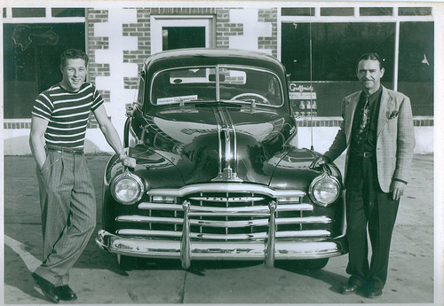 Fitzgerald GA Ben Hill County McCormick Motors Pontiac Dealership 1948 Fitzgerald Hurricane Star Running Back Lauren Hargrove Presented New Car by Albert McCormick Picture Image Photo © Collection of Brian Brown Vanishing South Georgia USA 2013