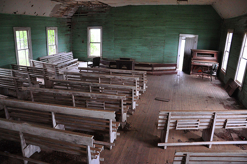 Young's Chapel Methodist Church Ben Hill County GA Interior Pews Green Beadboard Walls Piano Pulpit Endangered Landmark Picture Image Photograph © Brian Brown Vanishing South Georgia USA 2013