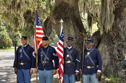 150th Anniversary of the Burning of Darien GA Civil War Sesquicentennial 54th Massachusetts Volunteer Infantry Black Union Reenactors Picture Image Photograph © Brian Brown Vanishing South Georgia USA 2013