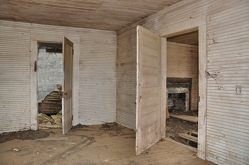 Abandoned Farmhouse Interior Turner County GA Bead Board Tongue and Groove Wainscoated Walls Rural Disapora Southern Gothic Pic Image Photograph © Brian Brown Vanishing South Georgia USA 2013