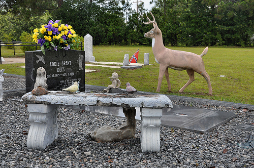 Cedar Crossing GA Toombs County Cemetery Decoration Whitetail Deer Meditation Bench Picture Image Photograph © Brian Brown Vanishing South Georgia USA 2013