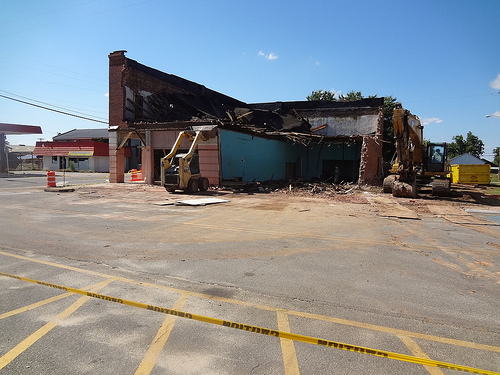 Demolition of Clements Drugstore in Pineview GA Wilcox County Small Town Identity Photo Courtesy of Betty Thomas for Vanishing South Georgia USA 2013