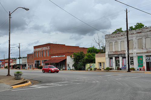 Downtown Rochelle GA Wilicox County Storefronts Old Reed Hotel Picture Image Photograph © Brian Brown Vanishing South Georgia USA 2013