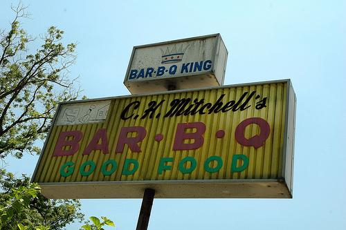 Valdosta GA C. H. Mitchell's Bar B Q Stand Good Food Restaurant Landmark Burt Reynolds Sign Picture Image Photograph © Brian Brown Vanishing South Georgia USA 2013