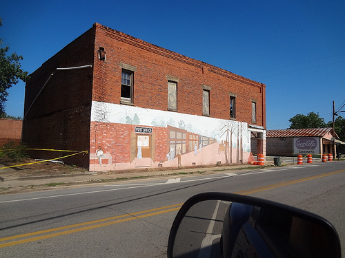 View of Side Wall and Mural Before Demolition of Clements Drugstore in Pineview GA Wilcox County Photo Courtesy of Betty Thomas for Vanishing South Georgia USA 2013
