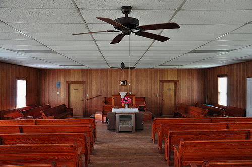 Lower Black Creek Baptist Church Antebellum Landmark 1859 Interior Pews Pulpit Remodeled Bryan County GA Picture Image Photograph © Brian Brown Vanishing South Georgia USA 2013