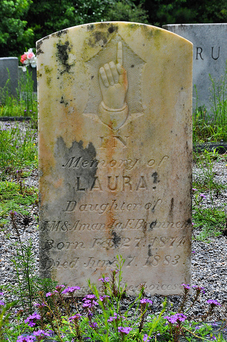 Lower Black Creek Primitive Baptist Church Cemetery Headstone Hand Pointing To Heaven Laura Brannen Bryan County Picture Image Photograph © Brian Brown Vanishing South Georgia USA 2013