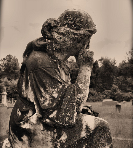 Lower Black Creek Primitive Baptist Church Cemetery Headstone Sculpture Weeping Maiden Mourning Minnie Lee Cox Picture Image Photograph © Brian Brown Vanishing South Georgia USA 2013