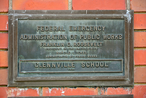 Glennville GA City Auditorium WPA Federal Emergency Administration 1939 Plaque Picture Image Photograph Copyright © Brian Brown Vanishing South Georgia USA 2013