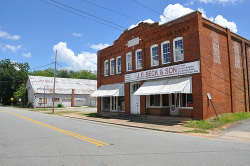 Jeffersonville GA Twiggs County Downtown Commercial Architecture Beck & Son Hardware Store Old WPA Gymnasium Picture Image Photograph Copyright © Brian Brown Vanishing South Georgia USA 2013