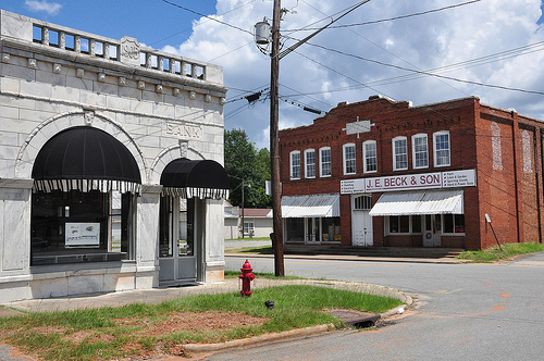 Jeffersonville GA Twiggs County Downtown Commercial Architecture Marble Front Bank Beck & Son Hardware Store Picture Image Photograph Copyright © Brian Brown Vanishing South Georgia USA 2013