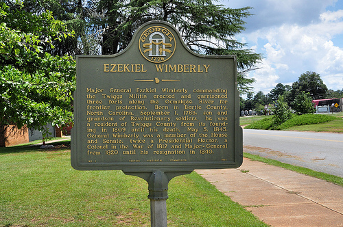 Jeffersonville GA Twiggs County Ezekiel Wimberly War of 1812 Colonel Fort Builder on Ocmulgee River Courthouse Lawn Historic Marker Picture Image Photograph Copyright © Brian Brown Vanishing South Georgia USA 2013