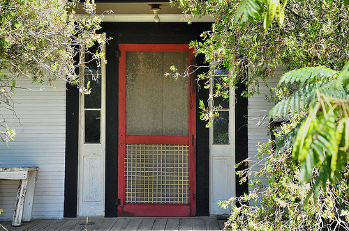 Minter GA Laurens County Front Red Screen Door Transom Clapboard Folk Victorian Picture Image Photograph Copyright © Brian Brown Vanishing South Georgia USA 2013