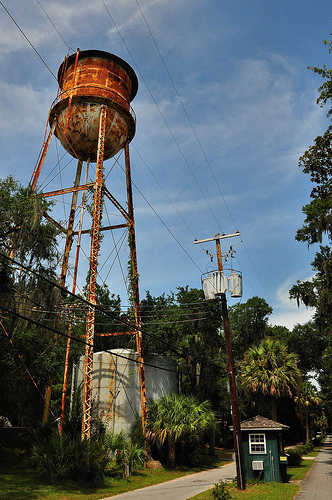 Oatland Island GA Entrance to Wildlife Center Water Tower Soon to be Removed Picture Image Photograph Copyright © Brian Brown Vanishing South Georgia USA 2013