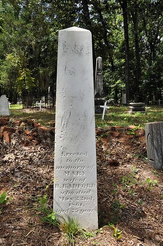 Richland Baptist Church Cemetery Twiggs County GA Historic Landmark Mary Radford Headstone Picture Image Photograph Copyright Brian Brown Vanishing South Georgia USA 2013
