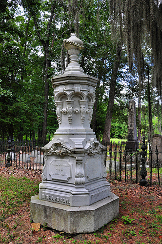 Richland Baptist Church Cemetery Twiggs County GA Historic Landmark Richardson Headstone Detail Photograph Copyright Brian Brown Vanishing South Georgia USA 2013