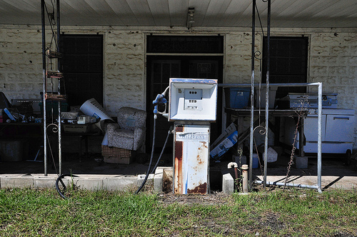 Rockledge GA Laurens County Ghost Town Abandoned Store Gas Pump Yard Sale Picture Image Photograph Copyright © Brian Brown Vanishing South Georgia USA 2013