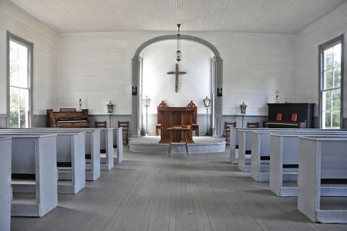 Antioch Primitive Baptist Church Louvale GA Stewart County Sanctuary Interior Recessed Pulpit Organ Piano Straight Back Pews Picture Image Photograph Copyright © Brian Brown Vanishing South Georgia USA 2013