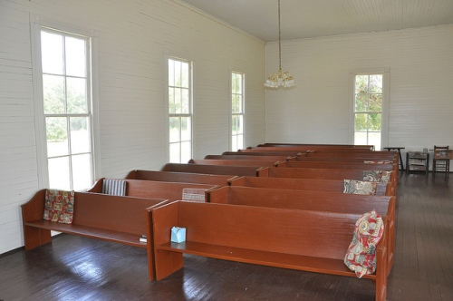 Marvin Methodist Church Louvale GA Stewart County Church Row Architectural Landmark Interior Sanctuary Wooden Pews with Cushions Picture Image Photograph Copyright ©Brian Brown Vanishing South Georgia USA 2013