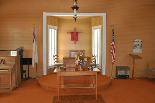 New Hope Baptist Church Louvale GA Stewart County Sanctuary Interior Pulpit Wainscoating Beadboard Walls Goldenrod Yellow Flags Piano Space Heater Picture Image Photograph Copyright © Brian Brown Vanishing South Georgia USA 2013