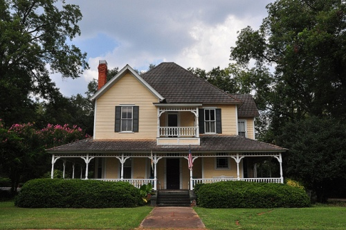 Plains GA Historic House Folk Victorian Architecture Yellow Clapboard Two-story Picture Image Photograph Copyright © Brian Brown Vanishing South Georgia USA 2013