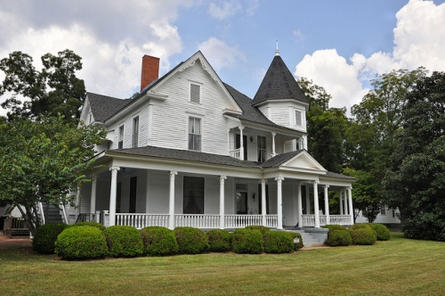 Plains GA Historic House Victorian Architecture Turret White Clapboard Porches Picture Image Photograph Copyright © Brian Brown Vanishing South Georgia USA 2013