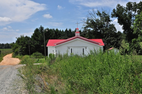 Sibley GA Turner County New Hope Baptist Church Dirt Gravel Road Red Tin Roof Vernacular Steeple Cinder Block Architecture Picture Image Photograph Copyright © Brian Brown Vanishing South Georgia USA 2013