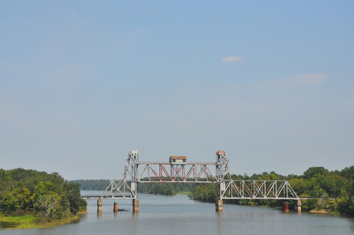 Vertical Lift Bridge Seaboard Coast Line Railroad RR Abandoned Chattahoochee River Omaha GA Alabama Line Picture Image Photograph Copyright © Brian Brown Vanishing South Georgia USA 2013