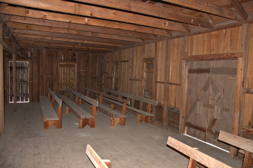 Bethlehem Primitive Baptist Church Bachlott GA Brantley County Hardshell Religion Interior Pews Rough Hewn Roof Beams Picture Image Photograph Copyright © Brian Brown Vanishing South Georgia USA 2013