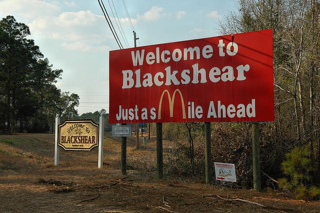 Blackshear GA Pierce County McDonald's Smile Ahead Billboard Picture Image Photograph Copyright © Brian Brown Vanishing South Georgia USA 2013