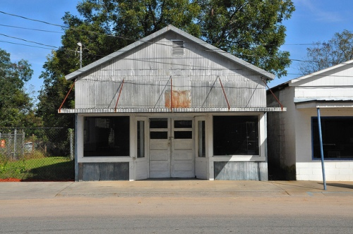 Enigma GA Berrien County Abandoned Store Early 20th Century Vernacular Commercial Architecture Recessed Doorway Corrugated Tin Siding Picture Image Photograph Copyright © Brian Brown Vanishing South Georgia USA 2013
