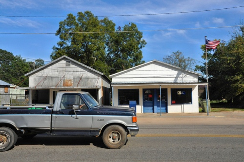 Enigma GA Berrien County Post Office Abandoned Store Old F 150 Pickup Truck Passing By Main Street Picture Image Photograph Copyright © Brian Brown Vanishing South Georgia USA 2013