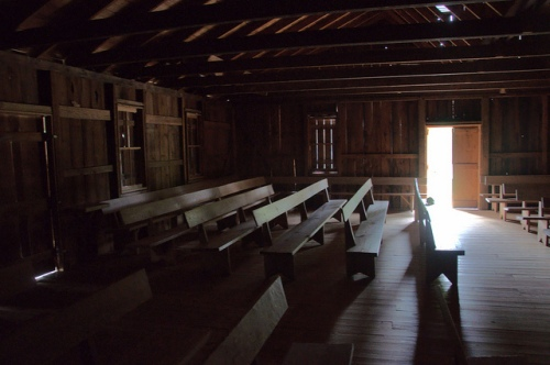 High Bluff Primitive Baptist Church Schlatterville Hoboken GA Brantley County Interior Pews Natural Light Picture Image Photograph Copyright © Brian Brown Vanishing South Georgia USA 2013