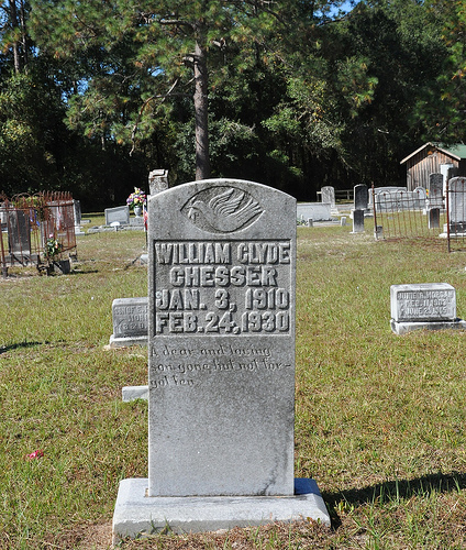 Oak Grove Primitive Baptist Church Raybon GA Brantley County Cemetery William Clyde Chesser Headstone Picture Image Photograph Copyright © Brian Brown Vanishing South Georgia USA 2013