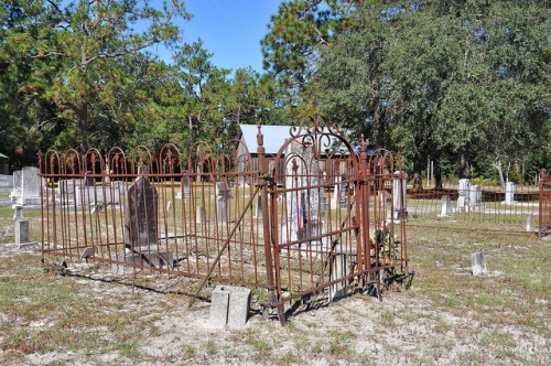 Oak Grove Primitive Baptist Church Raybon GA Brantley County Cemetery Wrought Iron Enclosure Picture Image Photograph Copyright © Brian Brown Vanishing South Georgia USA 2013