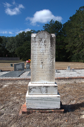 Pilgrim's Rest Primitive Baptist Church Cemetery Waynesville GA Headstone of Jerusha Bennett Southeast Georgia Pioneer Picture Image Photograph Copyright © Brian Brown Vanishing South Georgia USA 2013