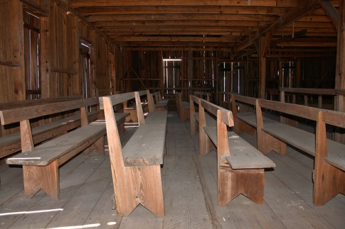 Pilgrim's Rest Primitive Baptist Church Waynesville GA Brantely County Hardshell Vernacular Architecture Board and Batten Interior Pews Picture Image Photograph Copyright © Brian Brown Vanishing South Georgia USA 2013