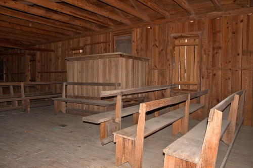 Pilgrim's Rest Primitive Baptist Church Waynesville GA Brantely County Hardshell Vernacular Architecture Board and Batten Interior Pews Pulpit Picture Image Photograph Copyright © Brian Brown Vanishing South Georgia USA 2013