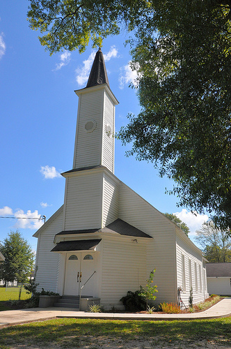 Surrency Baptist Church Appling County GA Landmark Tall Steeple Clapboard Construction Picture Image Photograph Copyright © Brian Brown Vanishing South Georgia USA 2013