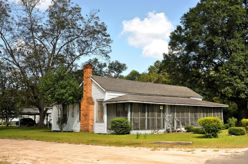 Surrency GA Appling County Singlewide Vernacular Architecture Folk House Screened in Front Porch Picture Image Photograph Copyright © Brian Brown Vanishing South Georgia USA 2013