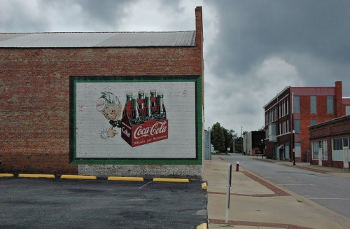 Sylvester GA Worth County Downtown Street Early 20th Century Commercial Architecture Repainted Coca-Cola Mural Sprite Boy Picture Image Photograph Copyright © Brian Brown Vanishing South Georgia USA 2013