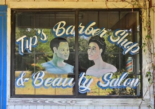 Tips Barber Shop Beauty Salon Window Mural African American Surrency GA Appling County Picture Image Photograph Copyright © Brian Brown Vanishing South Georgia USA 2013