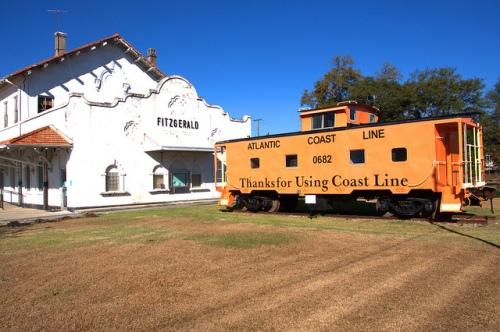 AB&A Railroad Depot Fitzgerald GA Spanish Mission Revival Landmark Photograph Copyright Brian Brown Vanishing South Georgia USA 2013