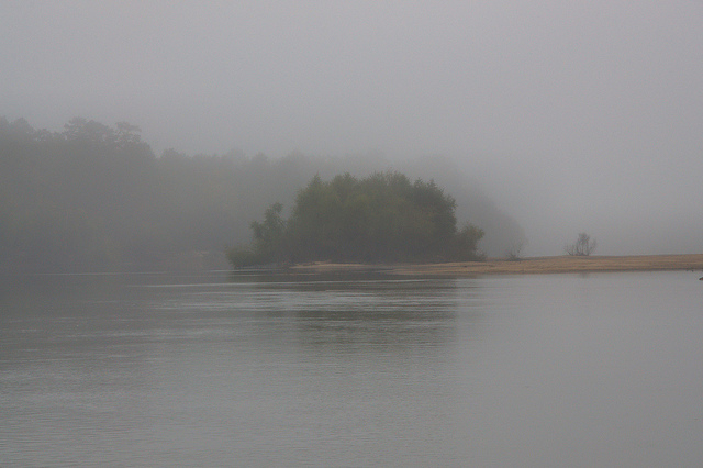Beard's Bluff Altamaha River Long County GA Sand Bar Fog Photograph Copyright Brian Brown Vanishing South Georgia USA 2013