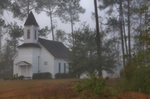 Mary Grove Missionary Baptist Church Gardi GA Wayne County Foggy Morning Photograph Copyright Brian Brown Vanishing South Georgia USA 2013