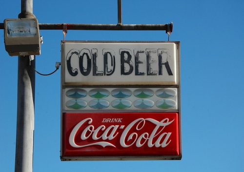 1960s Coca Cola Cold Beer Sign Sardis GA Burke County Photograph Copyright Brian Brown Vanishing South Georgia USA 2013