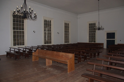 Big Buckhead Baptist Church Jenkins County GA Antebellum Landmark Slat Back Pews Interior Photograph Copyright Brian Brown Vanishing South Georgia USA 2013
