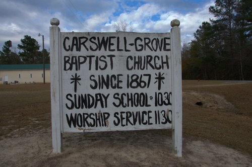 Folk Art Church Sign Carswell Grove Baptist Church Jenkins County GA Photograph Copyright Brian Brown Vanishing South Georgia USA 2013