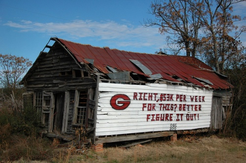 Georgia Bulldogs Barn Sign Abandoned Store Peacock's Crossing GA Washington County Photograph Copyright Brian Brown Vanishing South Georgia USA 2013