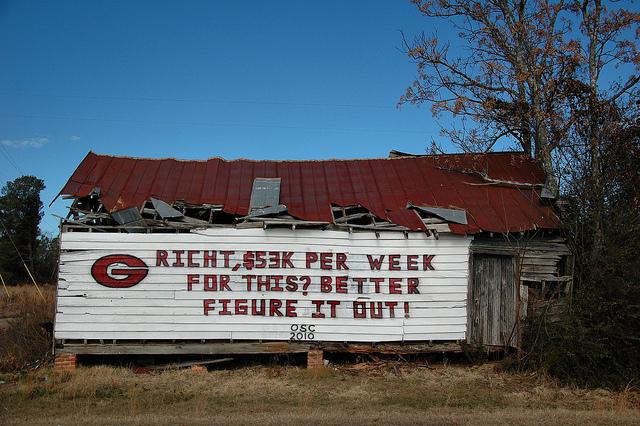 Georgia Bulldogs UGA Football Barn Sign Landmark Abandoned Store Peacock's Crossing GA Washington County Photograph Copyright Brian Brown Vanishing South Georgia USA 2013